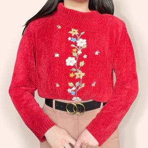 Vtg plush sweater w/ collar & beaded embroidery